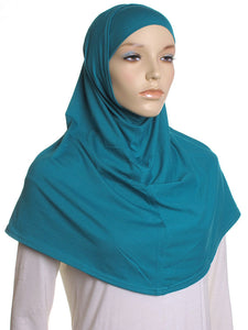 Teal Plain Cotton 2 Pce Al Amira Hijab