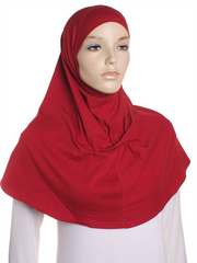Dark Red Plain Cotton 2 Pce Al Amira Hijab - Hijab Store Online
