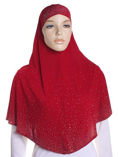 Red Diamante Al Amira Hijab