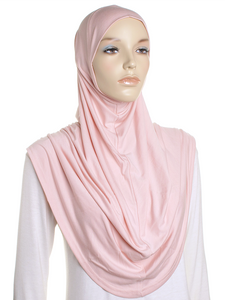 Pastel Peach Plain Pull On Style Al Amira Hijab