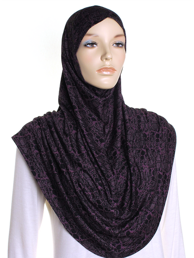 Purple Crocodile Print Al Amira Hijab