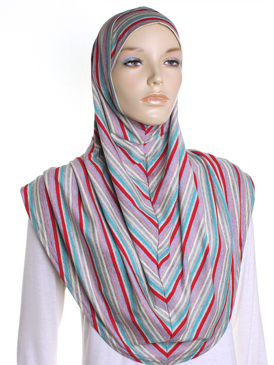 Grey Multi Stripe Al Amira Hijab