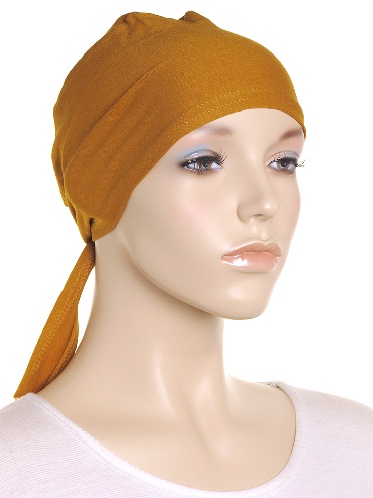 Dark Gold Plain Tie Back Bonnet - Hijab Store Online