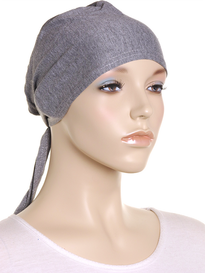 Dark Grey Marl Plain Tie Back Bonnet - Hijab Store Online