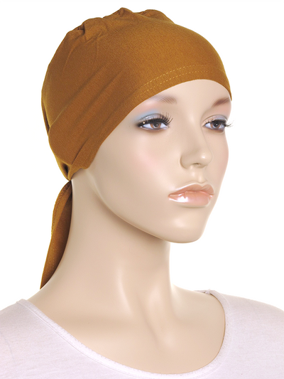 Deep Gold Plain Tie Back Bonnet - Hijab Store Online