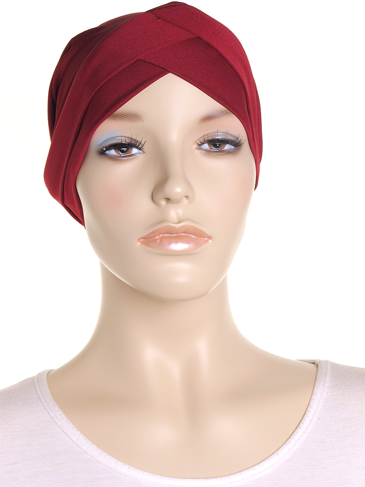 Burgundy Criss Cross Turban Hat - Hijab Store Online