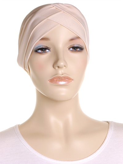 Dark Cream Criss Cross Turban Hat - Hijab Store Online