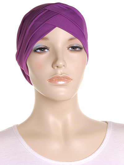 Purple Criss Cross Turban Hat - Hijab Store Online
