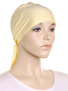 Pastel Yellow Plain Tie Back Bonnet
