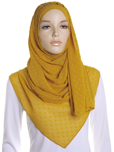Autumn Gold Dotted Chiffon Hijab
