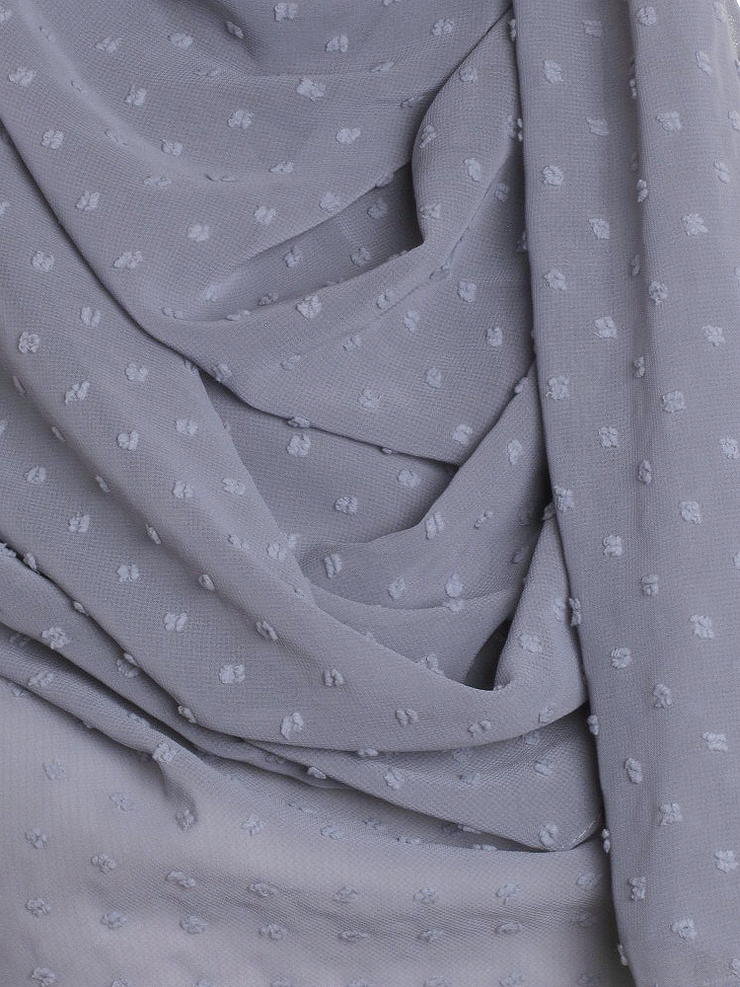 Dove Grey Dotted Chiffon Hijab