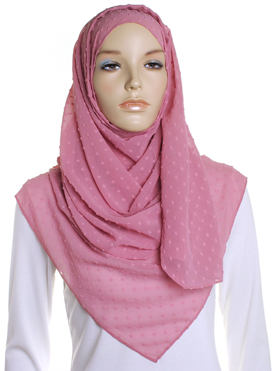 Powder Pink Dotted Chiffon Hijab