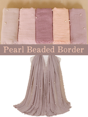 Taupe Grey Pearl Beaded Crinkle Hijab - Hijab Store Online