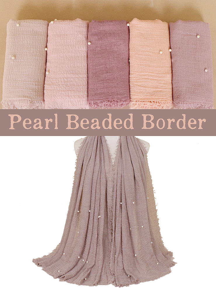Cocoa Pearl Beaded Crinkle Hijab - Hijab Store Online