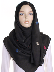 Black Flower Embroidered Hijab - Hijab Store Online