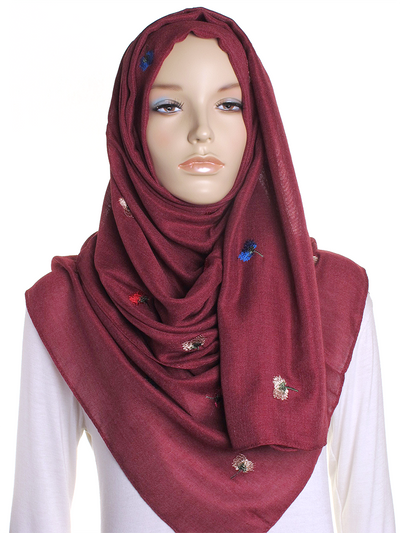 Burgundy Flower Embroidered Hijab - Hijab Store Online
