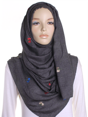 Charcoal Flower Embroidered Hijab - Hijab Store Online
