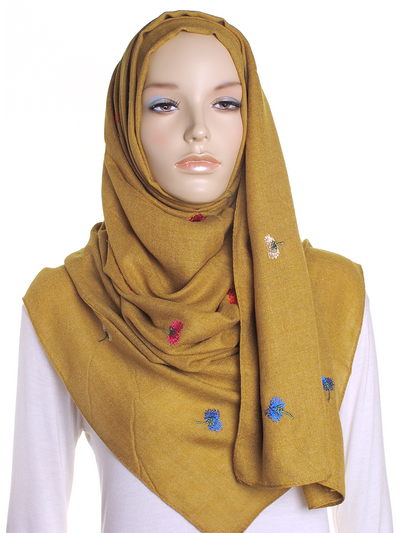 Dark Mustard Flower Embroidered Hijab - Hijab Store Online