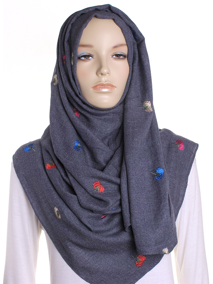 Denim Blue Flower Embroidered Hijab - Hijab Store Online