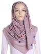 Pink Blush Flower Embroidered Hijab - Hijab Store Online