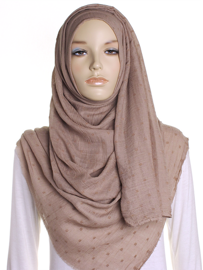 Beige Dotted Cotton Hijab - Hijab Store Online