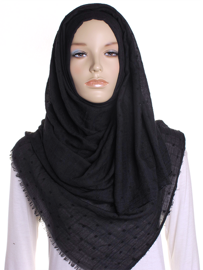 Black Dotted Cotton Hijab - Hijab Store Online