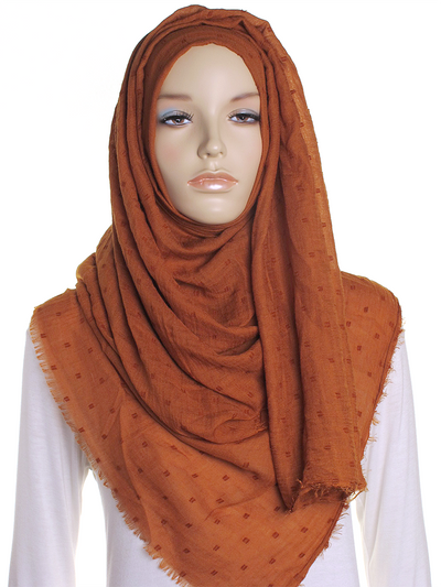 Bronze Dotted Cotton Hijab - Hijab Store Online