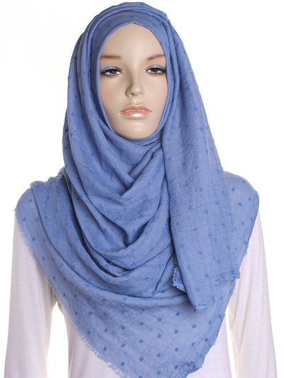 Carolina Blue Dotted Cotton Hijab - Hijab Store Online