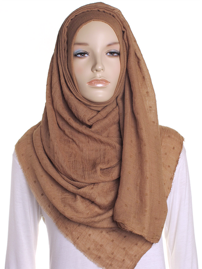 Cocoa Dotted Cotton Hijab