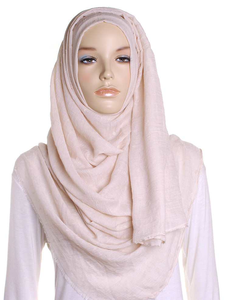Dark Cream Dotted Cotton Hijab - Hijab Store Online