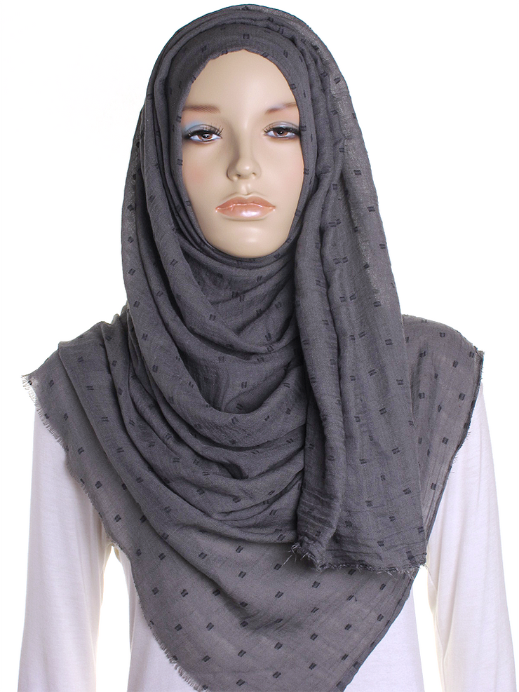 Dark Grey Dotted Cotton Hijab - Hijab Store Online