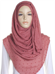 Dark Rose Dotted Cotton Hijab - Hijab Store Online
