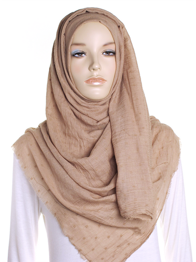 Golden Beige Dotted Cotton Hijab