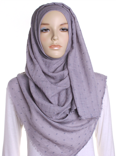 Grey Dotted Cotton Hijab - Hijab Store Online