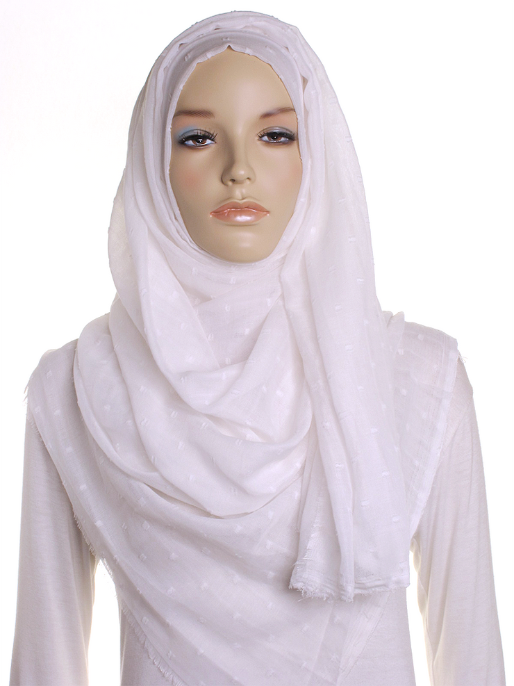 Ivory Dotted Cotton Hijab - Hijab Store Online
