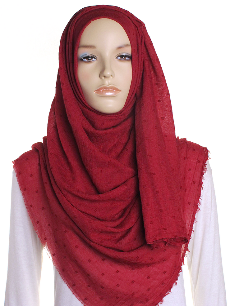 Maroon Dotted Cotton Hijab - Hijab Store Online