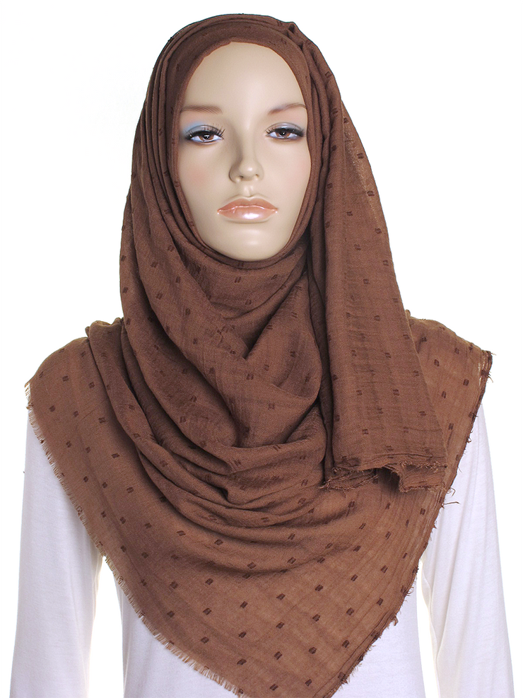 Milk Chocolate Dotted Cotton Hijab - Hijab Store Online