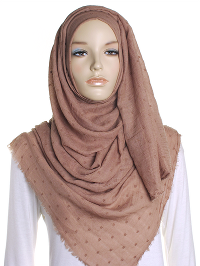 Mocha Dotted Cotton Hijab - Hijab Store Online