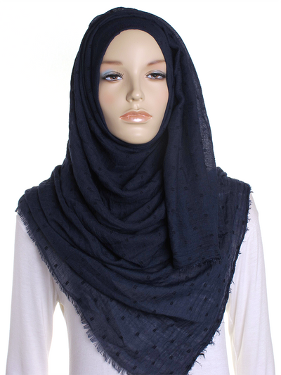 Navy Dotted Cotton Hijab - Hijab Store Online