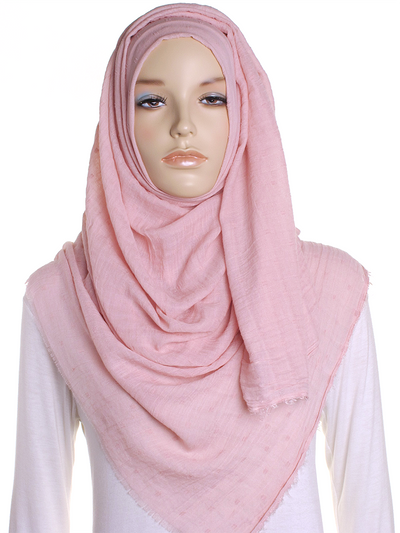 Petal Pink Dotted Cotton Hijab - Hijab Store Online