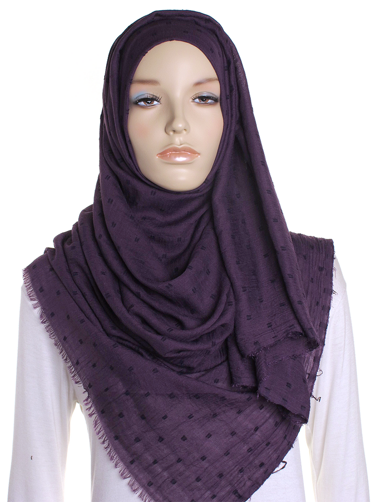 Purple Dotted Cotton Hijab - Hijab Store Online