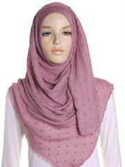 Rose Pink Dotted Cotton Hijab - Hijab Store Online
