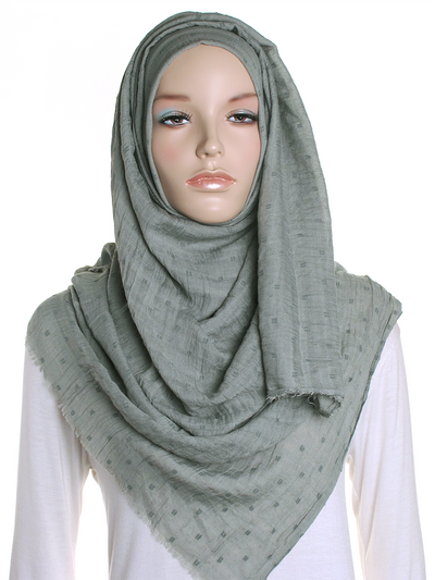 Sage Dotted Cotton Hijab - Hijab Store Online