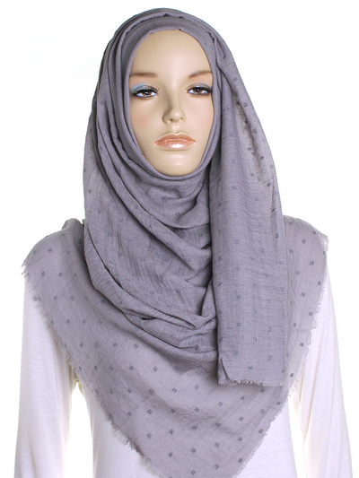 Stormy Grey Dotted Cotton Hijab