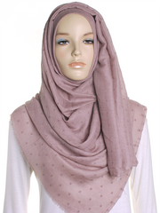 Taupe Dotted Cotton Hijab