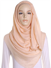 Pale Peach Dotted Cotton Hijab - Hijab Store Online