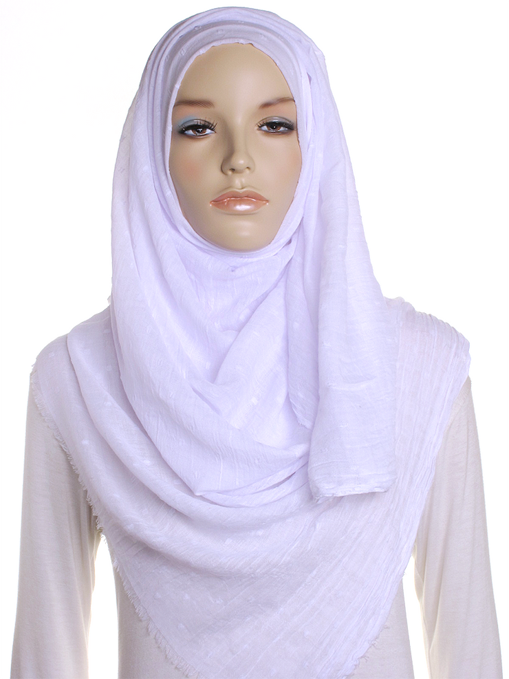 White Dotted Cotton Hijab - Hijab Store Online