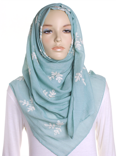 Green Embroidery Hijab - Hijab Store Online