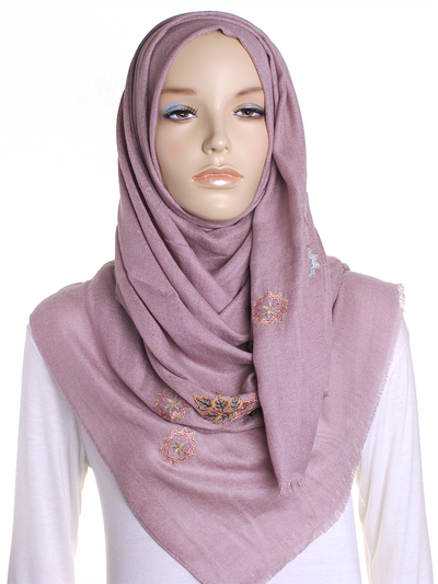 Blush Pink Floral Embroidered Hijab - Hijab Store Online