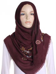 Burgundy Floral Embroidered Hijab - Hijab Store Online